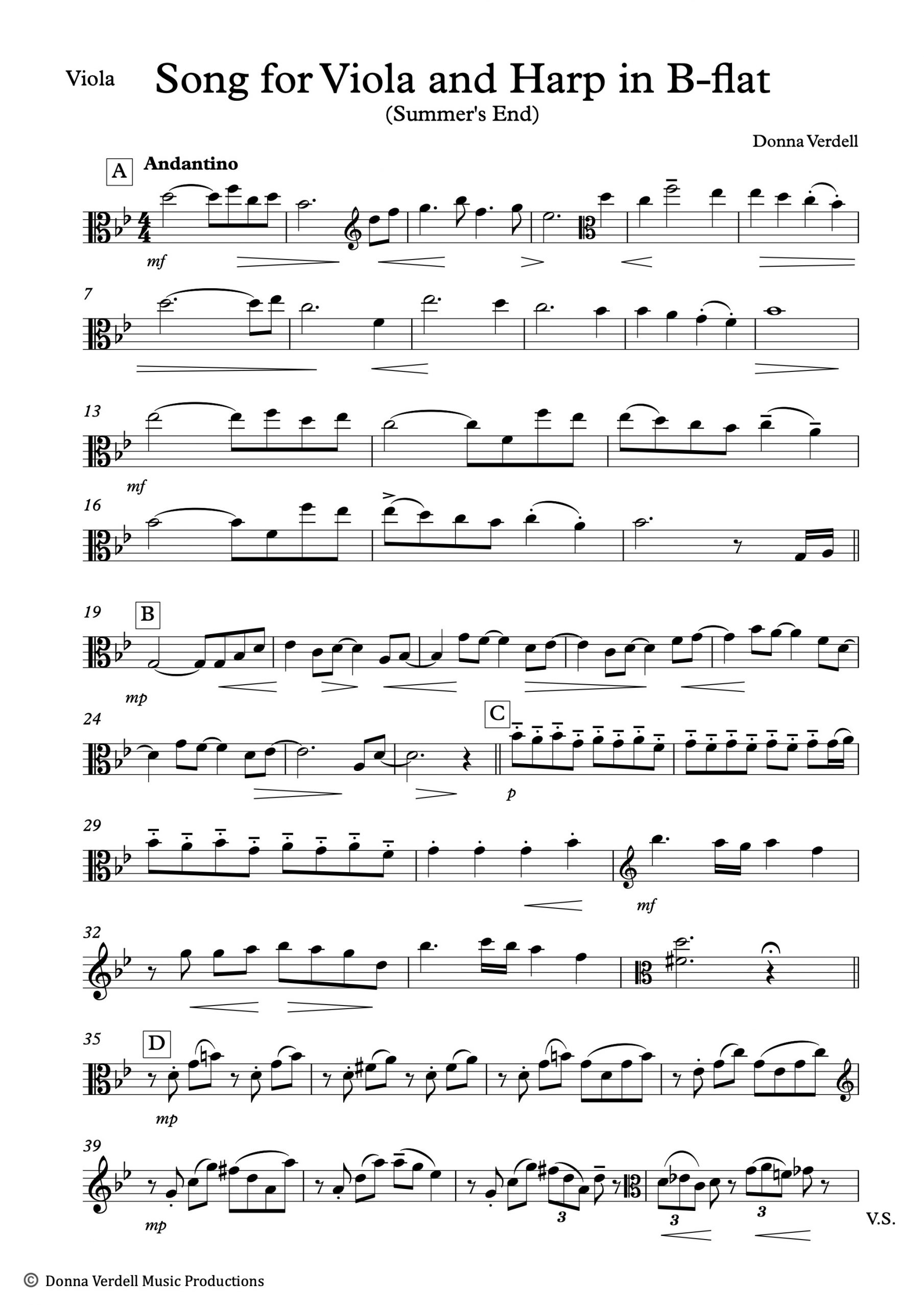 Song for Viola and Harp in B flat (Summer's End) - Donna Verdell VIOLA blad 1